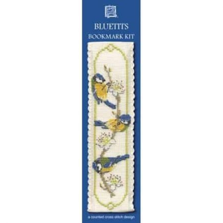 Textile Heritage Cross Stitch Kit - Bookmark - Blue Tits - Made in Scotland