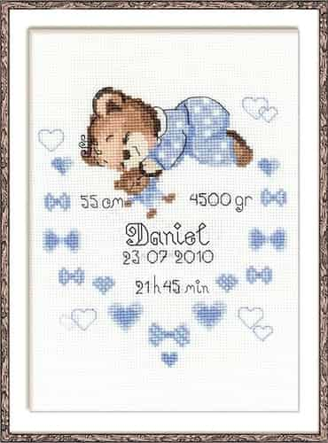 Riolis Cross Stitch Kit - Baby Boy Sampler, Birth
