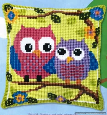 Vervaco Cross Stitch Cushion Front Kit - Owls on Branch