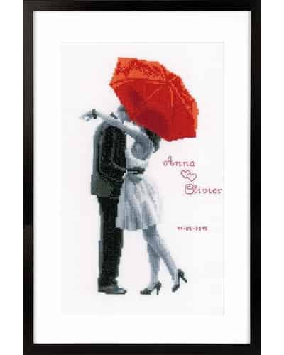 Vervaco Cross Stitch Kit - Under My Red Umbrella, Wedding, Marriage