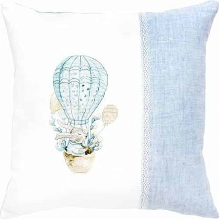 Luca S Cross Stitch Kit - Baby Bunny Balloon Cushion Kit PB185