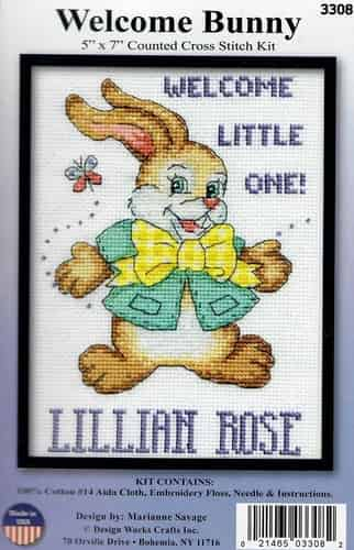 Design Works Cross Stitch Kit - Welcome Bunny, Birth