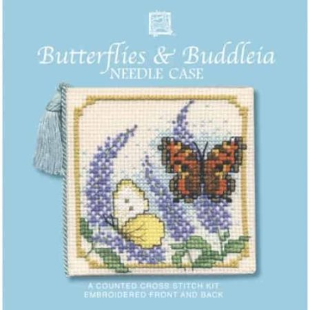 Textile Heritage Cross Stitch Kit - Butterflies and Buddleia Needlecase - Made in Scotland