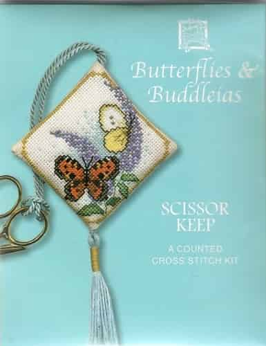 Textile Heritage Cross Stitch Kit - Scissor Keep - Butterflies and Buddleia