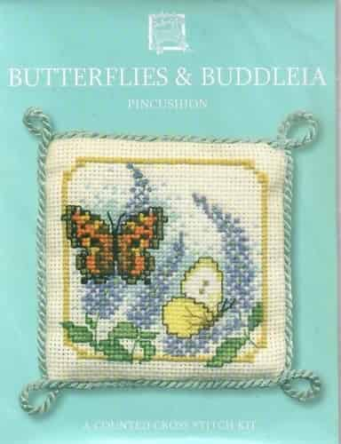 Textile Heritage Cross Stitch Kit - Pincushion - Butterflies and Buddleia - Made in Scotland