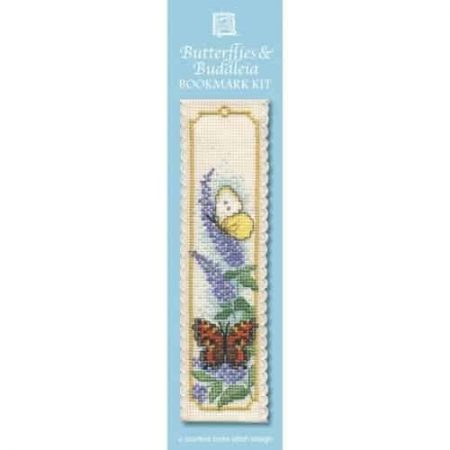 Textile Heritage Cross Stitch Kit - Bookmark - Butterflies & Buddleia - Made in Scotland