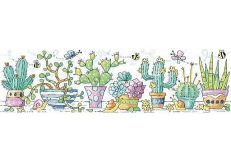Heritage Crafts Cross Stitch Kit - Cactus Garden