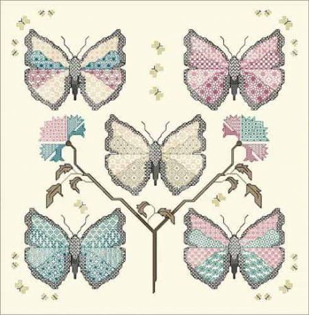 DoodleCraft Design Cross Stitch and Blackwork Kit - Calico Butterflies