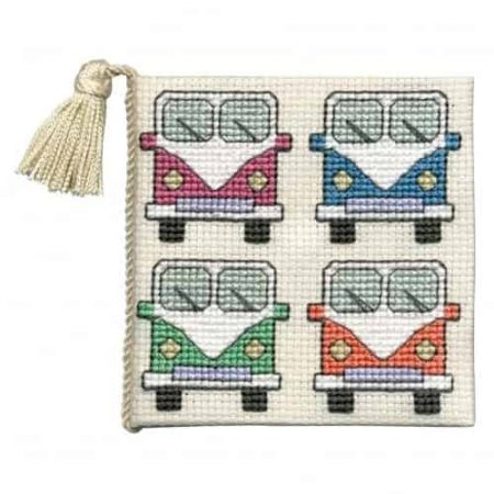 Textile Heritage Cross Stitch Kit - Campervans Needlecase - Made in Scotland