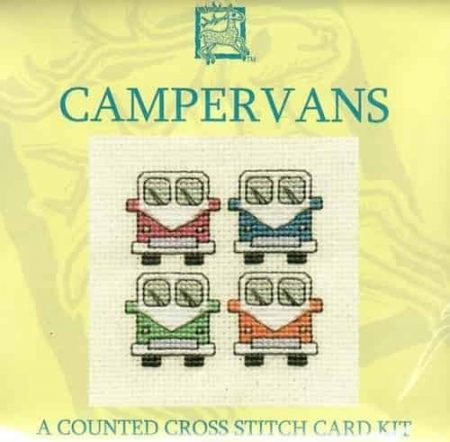 Textile Heritage Cross Stitch Kit - Card - Campervans - Made in Scotland