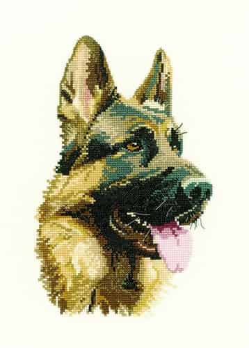 Heritage Crafts Cross Stitch Kit - Cash - German Shepherd