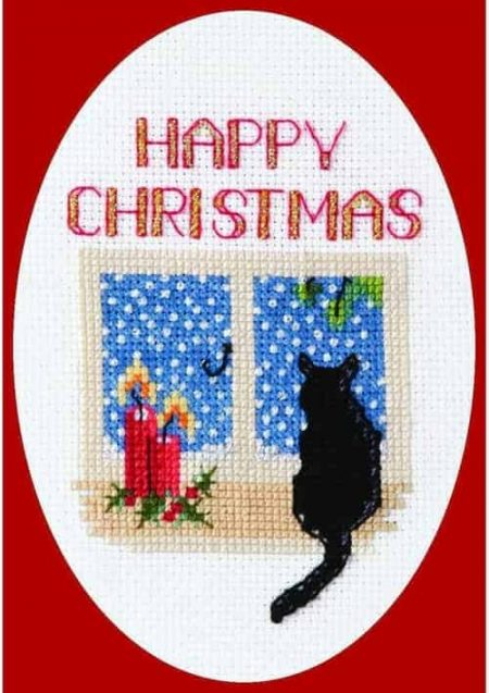 Derwentwater Designs Cross Stitch Kit - Christmas Card, Christmas Cat