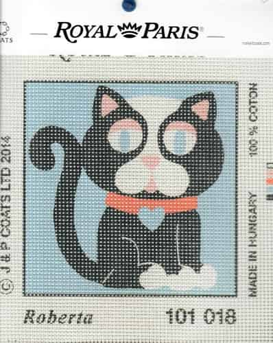 Royal Paris Printed Tapestry Needlepoint Canvas - Roberta Cat