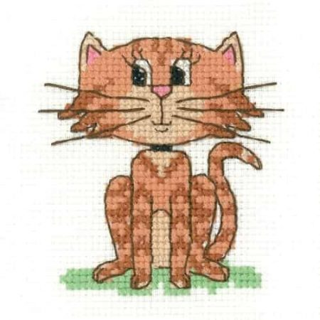 Heritage Crafts Cross Stitch Kit - Cat - Juniors, Beginners