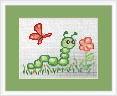 Luca S Cross Stitch Kit - Caterpillar and Butterfly