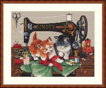 Merejka Cross Stitch Kit - Players & Singer - Cat, Kittens - DMC threads
