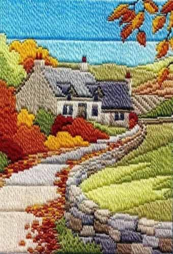 Derwentwater Designs Long Stitch Kit - Seasons, Cottages Autumn