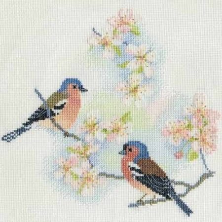 Derwentwater Designs Cross Stitch Kit - Chaffinches and Blossom, Birds