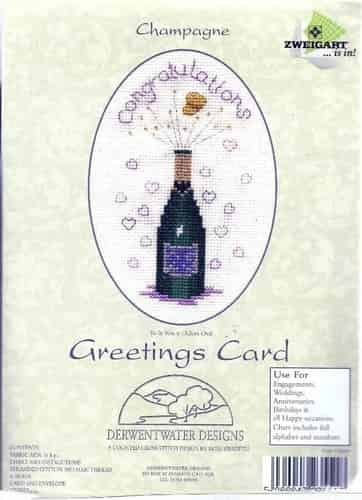 Derwentwater Designs Cross Stitch Kit - Congratulations Champagne Greetings Card