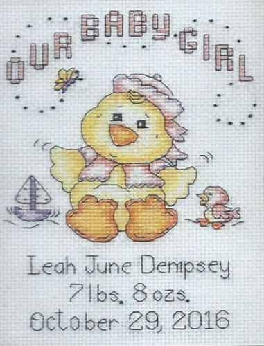 Design Works Cross Stitch Kit - Baby Chick Girl