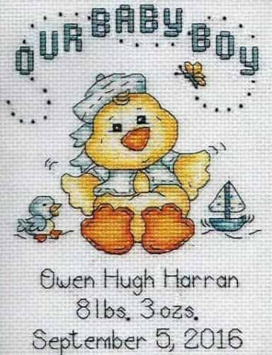 Design Works Cross Stitch Kit - Baby Chick Boy
