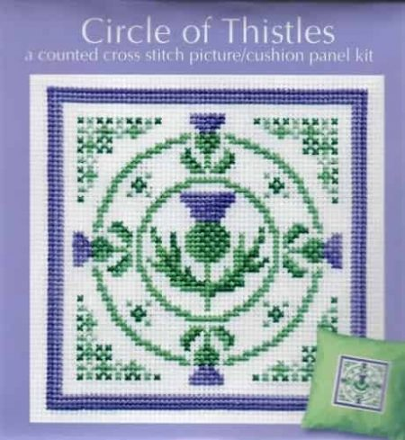 Textile Heritage Cross Stitch Kit - Picture or Cushion Panel Circle of Thistles