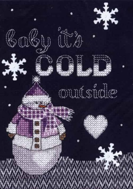 Janlynn Cross Stitch Kit - Christmas Designs - Snowman - Cold Outside