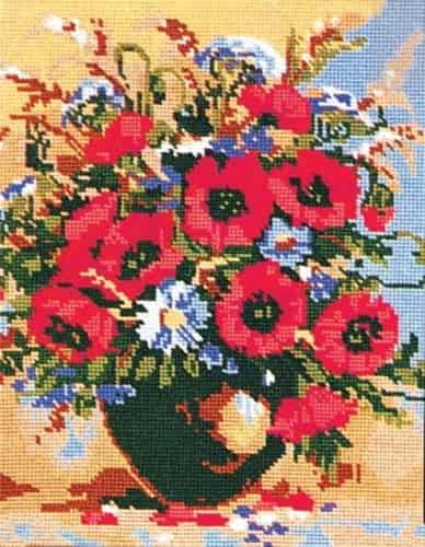 Grafitec Printed Tapestry Needlepoint Canvas - Poppies and Cornflowers