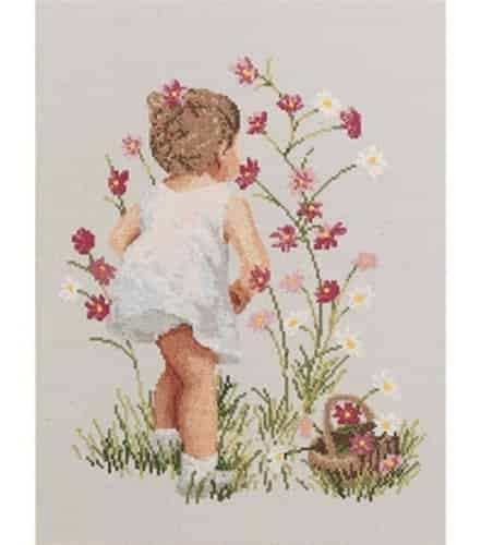 Janlynn Cross Stitch Kit - Girl with Cosmos