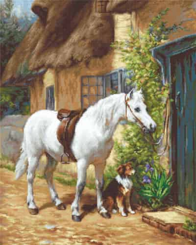 Luca S Cross Stitch Kit - By The Cottage - Horse, Dog G572