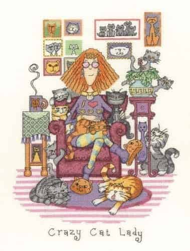 Heritage Crafts Cross Stitch Kit - Cats Rule, Crazy Cat Lady