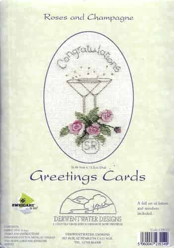 Derwentwater Designs Cross Stitch Kit - Congratulations Roses & Champagne Card