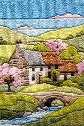 Derwentwater Designs Long Stitch Kit - Seasons, Cottages Spring