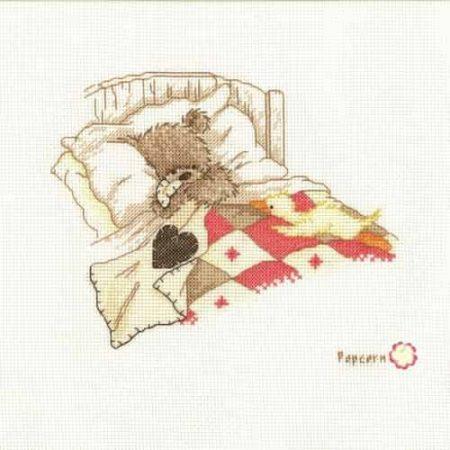 Vervaco Cross Stitch Kit - Popcorn, Cuddle Up, Teddy Bear