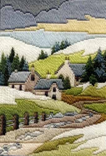 Derwentwater Designs Long Stitch Kit - Seasons, Cottages Winter
