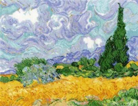 DMC Cross Stitch Kit National Gallery Van Gogh A Wheatfield Cypresses BL1067/71
