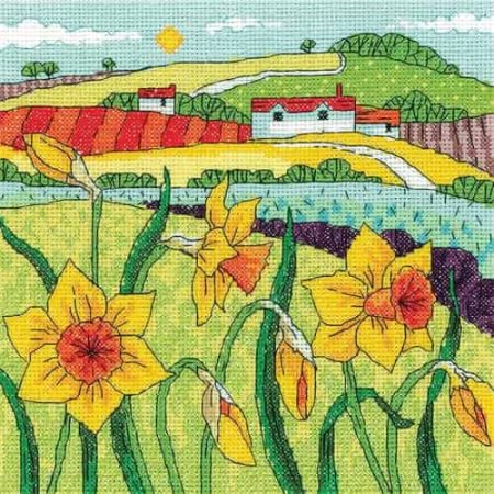 Heritage Crafts Cross Stitch Kit - Daffodil Landscape