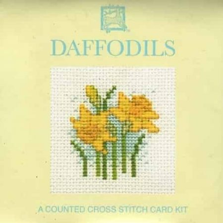 Textile Heritage Cross Stitch Kit - Card - Daffodils - Made in Scotland