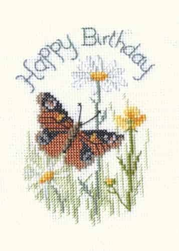 Derwentwater Designs Cross Stitch Kit - Birthday Card Butterflies & Daisies