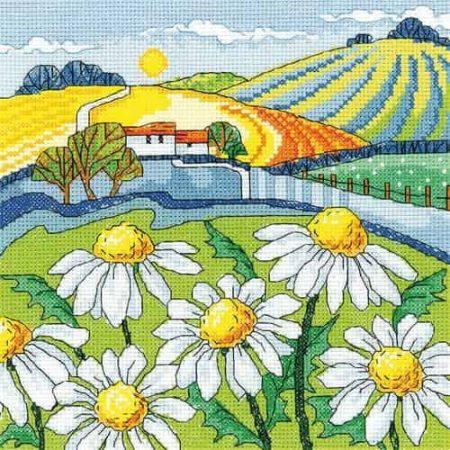 Heritage Crafts Cross Stitch Kit - Daisy Landscape
