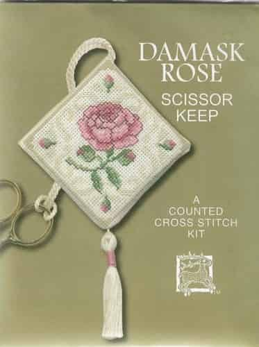 Textile Heritage Cross Stitch Kit - Scissor Keep - Damask Rose