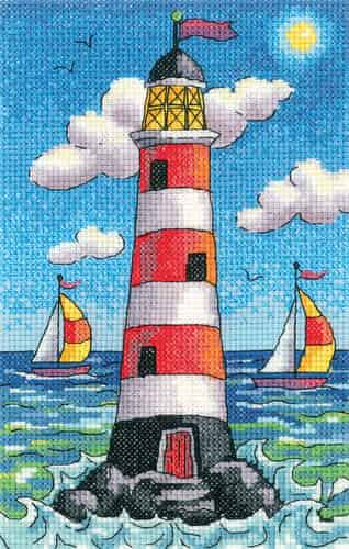 Heritage Crafts Cross Stitch Kit - Lighthouse by Day
