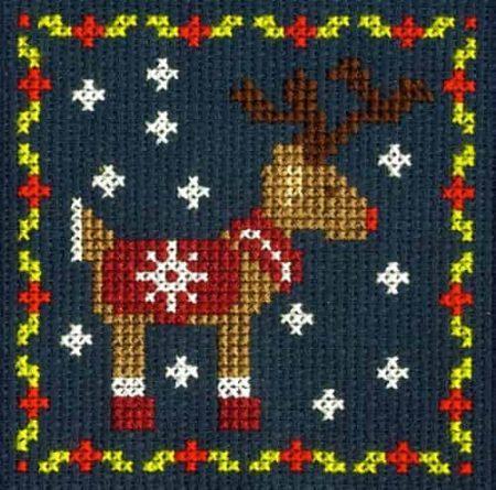DMC Mini Cross Stitch Kit - Festive Christmas - Reindeer