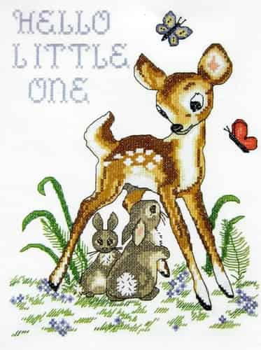 Janlynn Stamped Cross Stitch Kit - Baby Deer, Birth Announcement