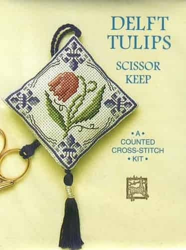 Textile Heritage Cross Stitch Kit - Scissor Keep - Delft Tulips