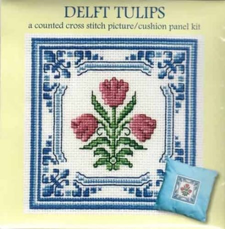 Textile Heritage Cross Stitch Kit - Picture or Cushion Panel Delft Tulips