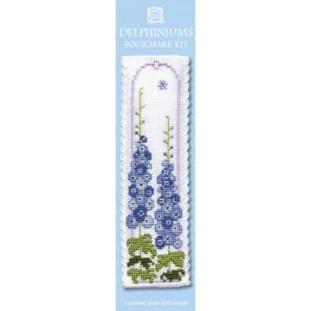 Textile Heritage Cross Stitch Kit - Bookmark - Delphiniums - Made in Scotland