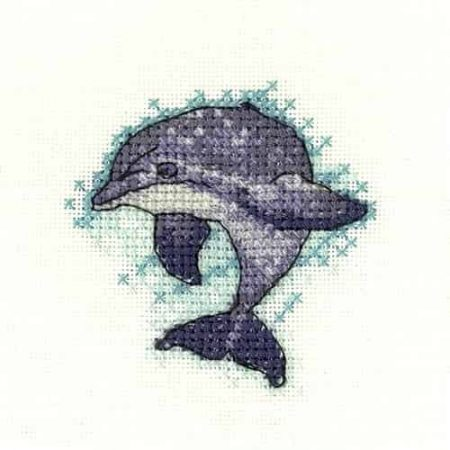 Heritage Crafts Cross Stitch Kit - Little Friends, Dolphin
