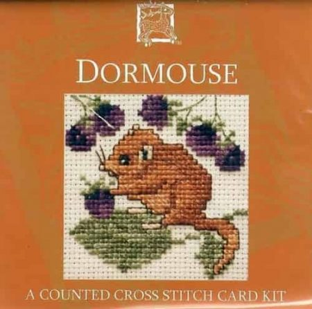 Textile Heritage Cross Stitch Kit - Card - Dormouse - Made in Scotland