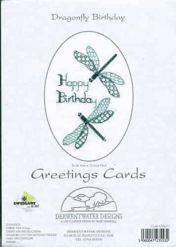 Derwentwater Designs Cross Stitch Kit - Dragonfly Birthday Card